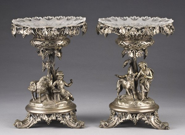 5: Pr. Victorian silver plate and glass tazzas, the