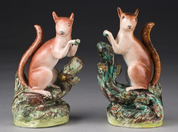 7: Pr. Staffordshire squirrels modeled seated on