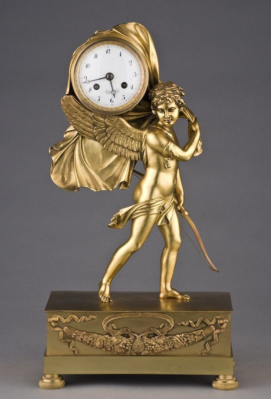 13: Empire style gilt bronze clock by Blanc Fils