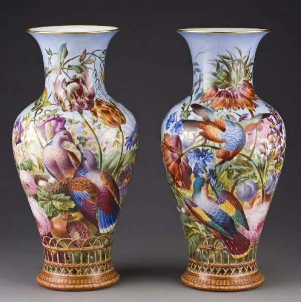 15: Pr. Large continental baluster form vases with