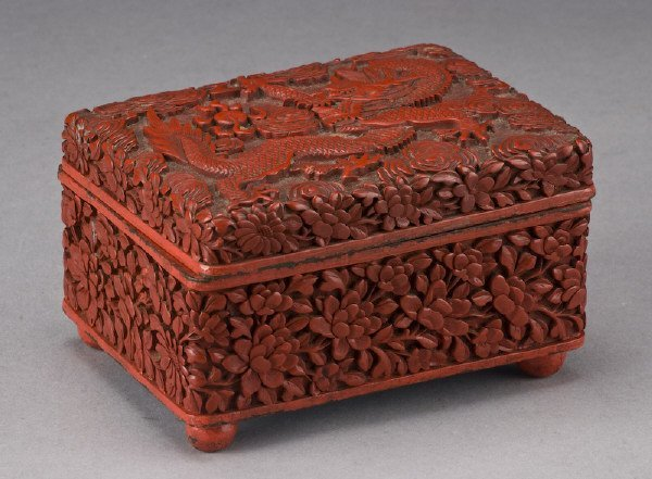19: Chinese Qing carved cinnabar box depicting dragons