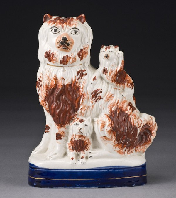 21: Unusual Staffordshire spaniel with two pups,
