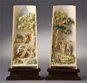 168: Pr. Chinese carved polychrome ivory wrist rests