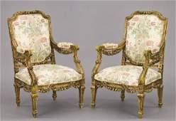 328: Pr. French Louis XVI style gilt wood arm chairs