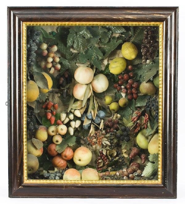 11: Victorian shadow box with artificial fruit,