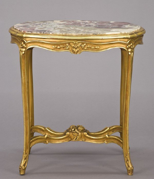 18: Louis XV style carved, gilt, marble top side table