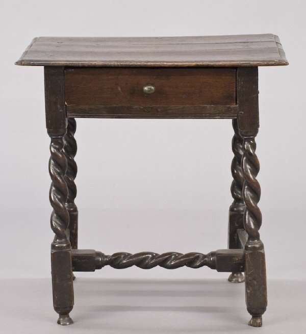 23: 17th C. English oak one drawer side table,