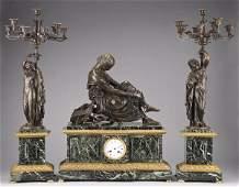 181 3pc Napoleon III clock set by Susse Freres