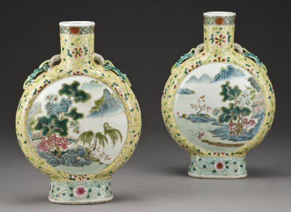 3: Pr. Chinese Qing famille rose porcelain moon flask