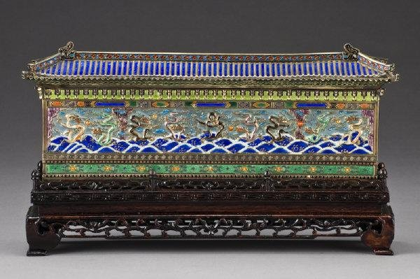 8: Chinese enamel over silver nine-dragon wall