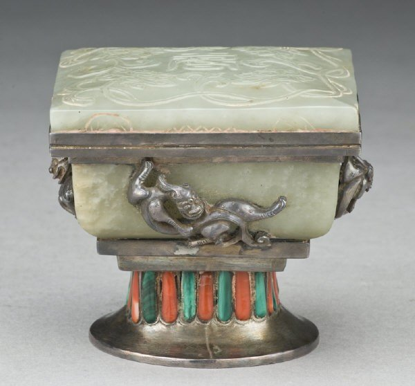 9: Chinese - Mongolian jade inlaid silver box with