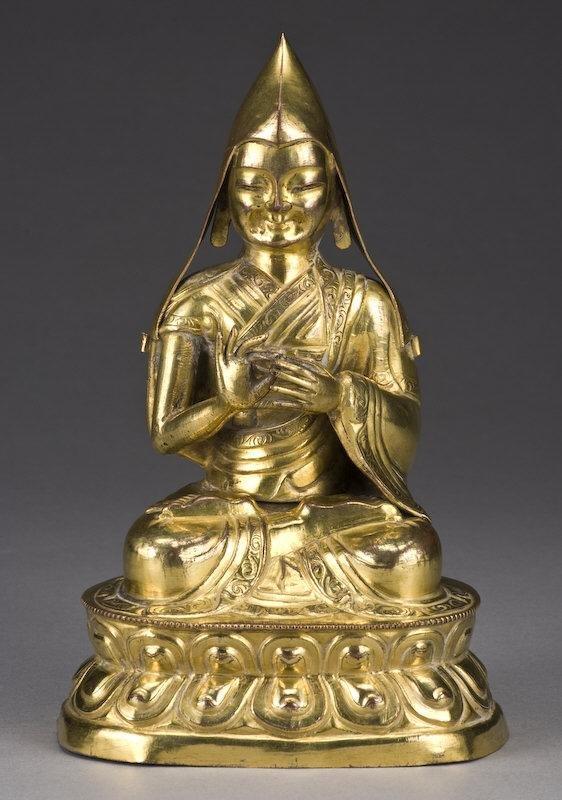 14: Chinese - Tibetan gilt bronze and Master Tsong-Kha