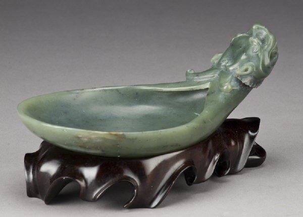 15: Chinese carved celadon jade spoon depicting