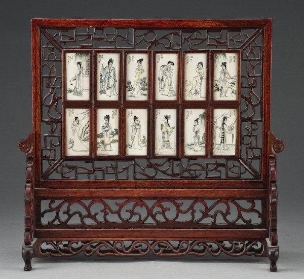 16: Chinese ivory inlaid table screen depicting 12