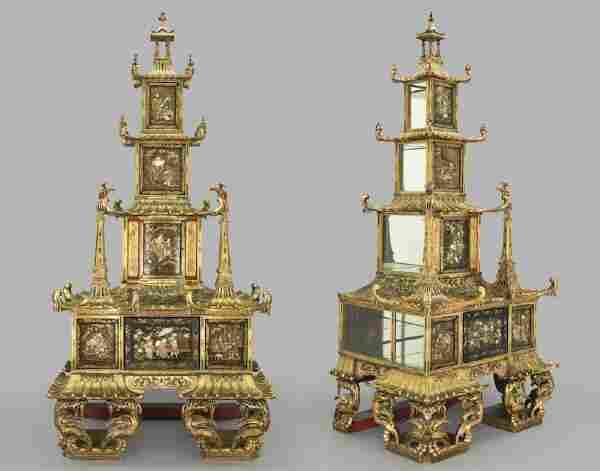 Pr. Monumental Early Meiji ivory mounted pagodas.
