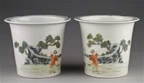378: Pr. Chinese famille rose porcelain jardinieres