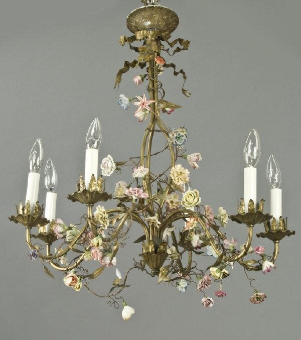 2: Six-light chandelier with porcelain flowers