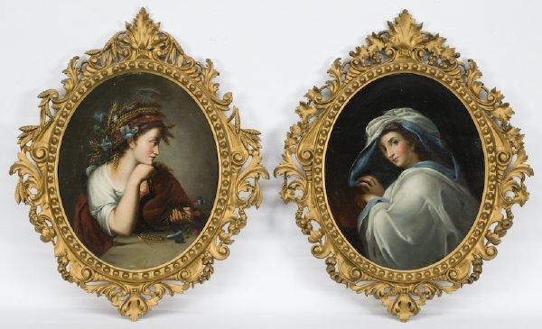3: Pr. Italian school oval portrait paintings