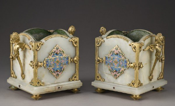 4: Pr. French onyx and champleve jardinieres with