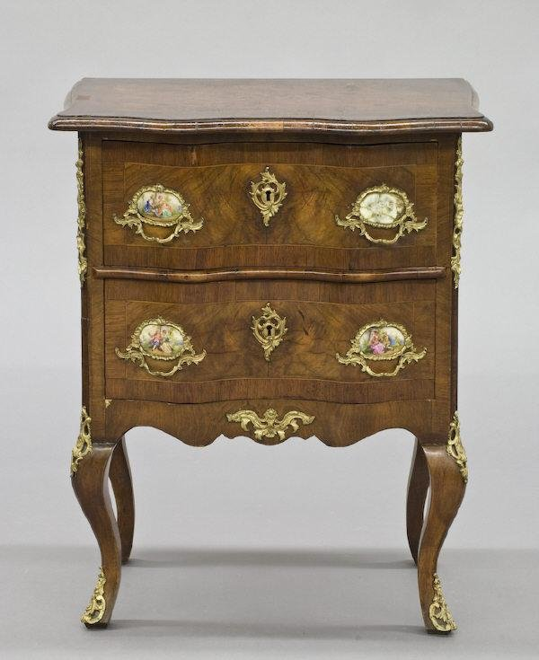 5: Continental side table with a burl wood top