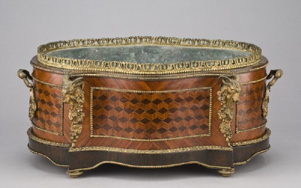 6: French Louis XV style bronze mounted jardiniere,