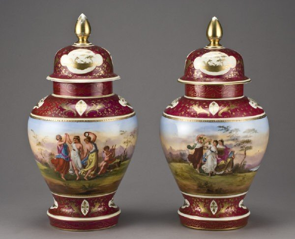 9: Pr. Royal Vienna style porcelain covered urns,