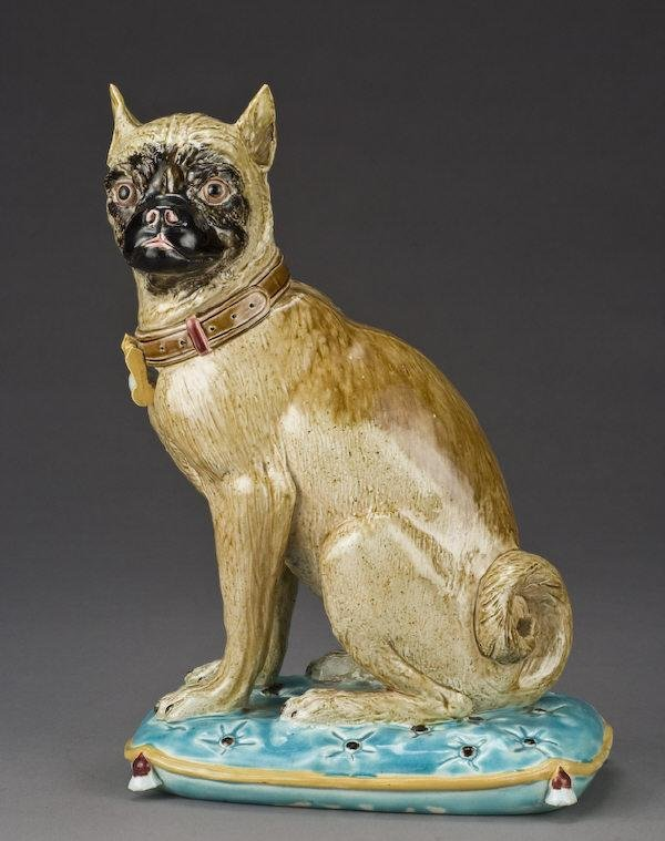 13: Joseph Holdcroft Majolica figure of a pug