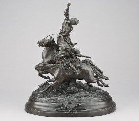 Russian Patinated Spelter Sculpture Modeled