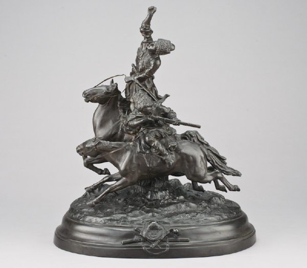 15: Russian patinated spelter sculpture modeled