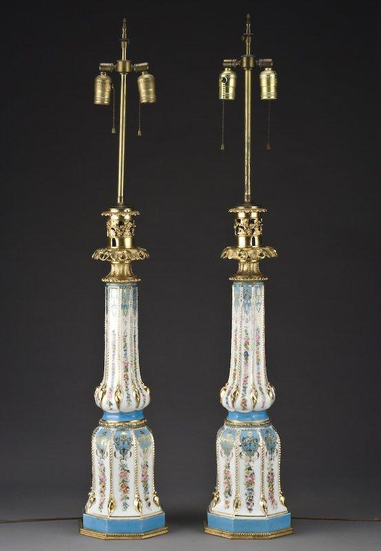 17: Pr. Sevres style porcelain lamps with celeste blue