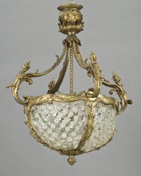 19: French Belle Epoque gilt bronze chandelier