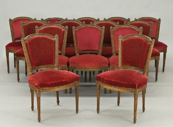 21: Set (14) Louis XVI style dining chairs