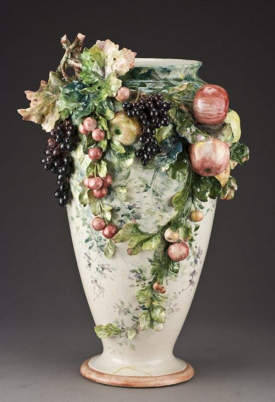 22: Large continental Majolica ovoid form vase