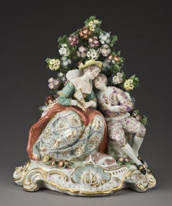 23: Chelsea style porcelain figure of a courting