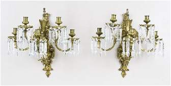 85 Pr French Louis XVI style dore bronze sconces