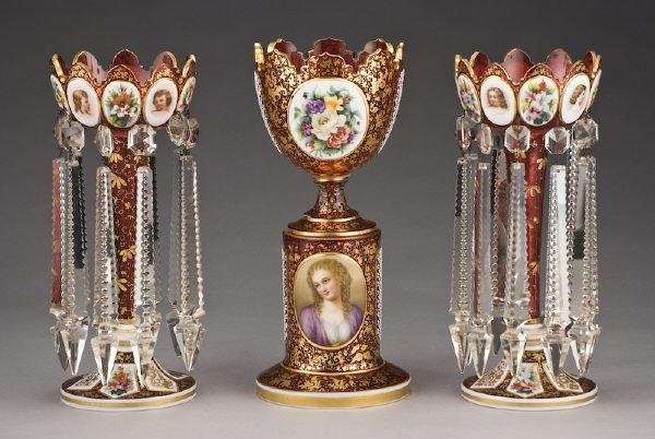 130: 3 Pc. Bohemian white cased and cranberry glass