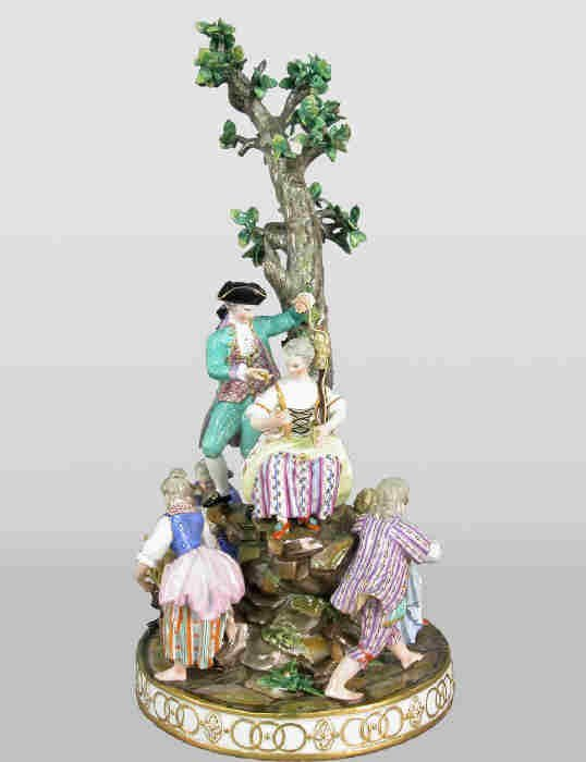 6: Meissen style figural grouping of six