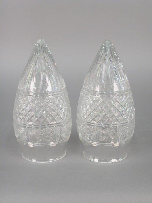 15: (2) Brilliant cut glass light globes in a