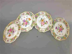 (4) Dresden dessert plates