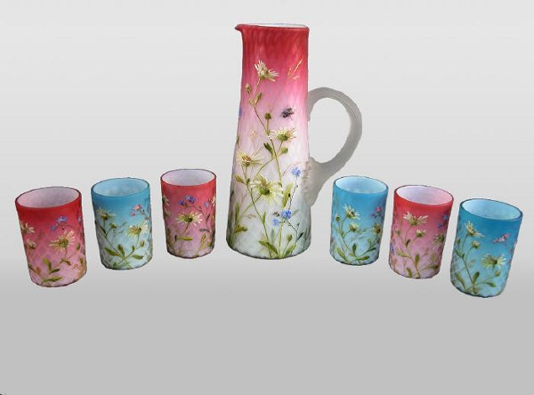 502: (7)pc. decorated MOP water set,