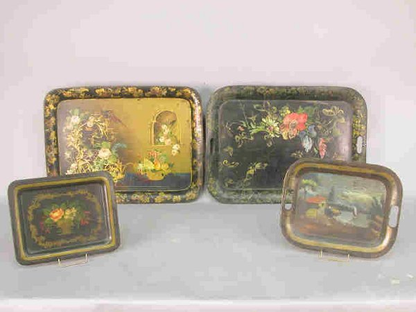 504: (4) Antique tole trays in asst. sizes