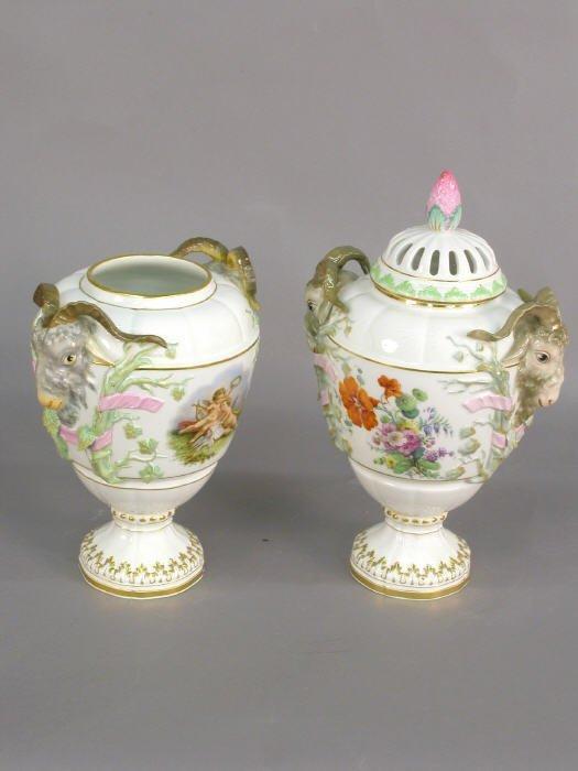 505: Pair of German porcelain lidded urns