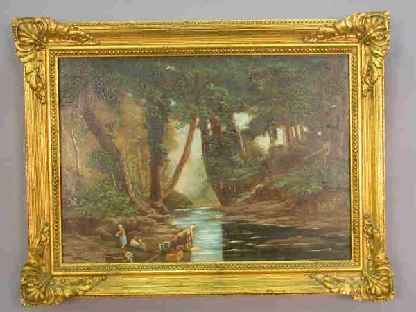 """513: Oil on board """"Wash Day at the Stream""""."""