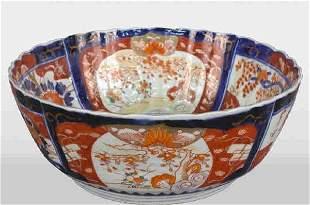 """Antique scalloped edge Imari bowl, 10"""""""