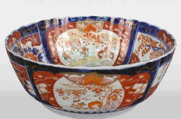 """515: Antique scalloped edge Imari bowl, 10"""""""