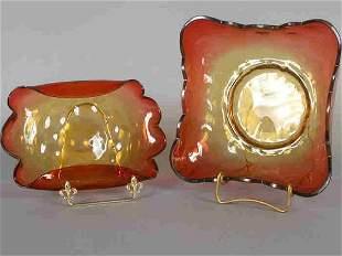 (2) Amberina center bowls including