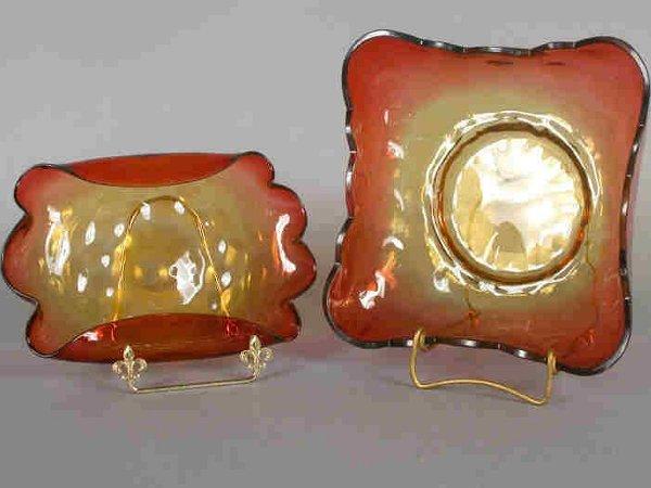518: (2) Amberina center bowls including