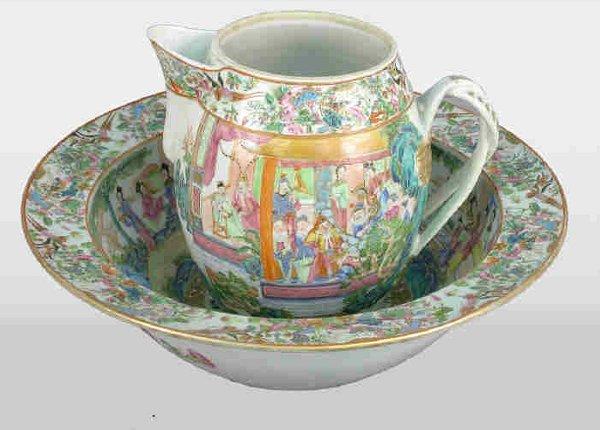 519: Antique Rose Mandarin pitcher and bowl