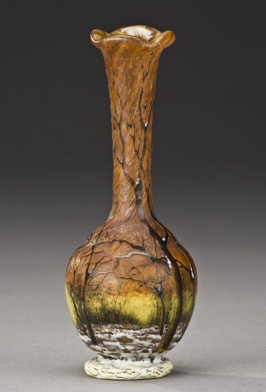 1: Daum Nancy Winter scene French cameo vase,