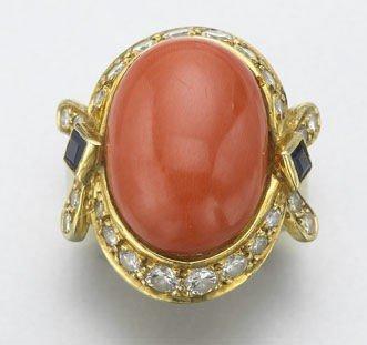 5: Retro 18K gold, diamond, sapphire and coral ring,